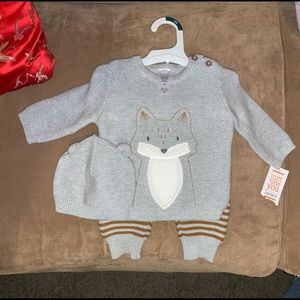 Carters 3 piece Baby Boy Fox Set with Hat